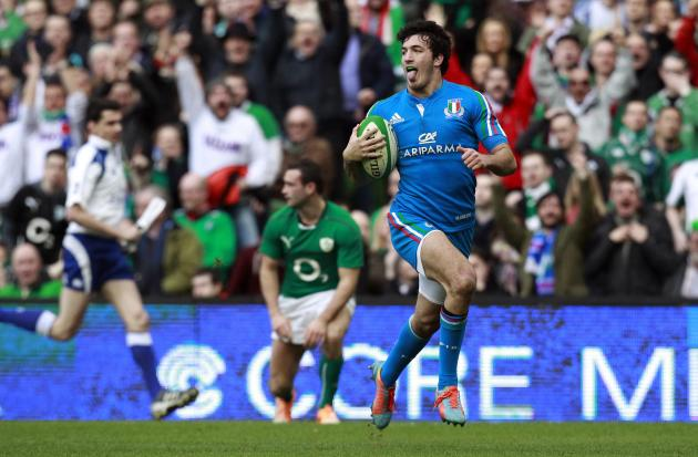 Italy's Sarto scores a try against Ireland in the Six Nations rugby union match at Aviva stadium in Dublin