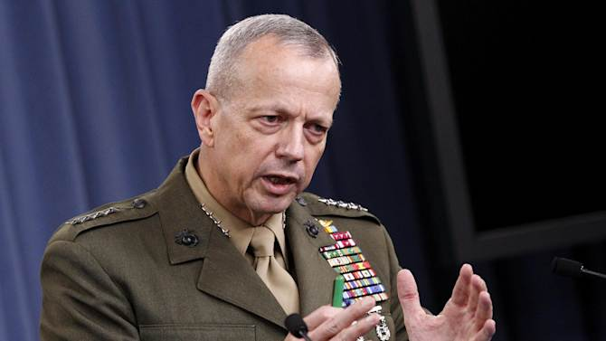 Marine Gen. John R. Allen, commander of the International Security Assistance Force gestures during a news conference at the Pentagon, Wednesday, May 23, 2012. (AP Photo/Haraz N. Ghanbari)