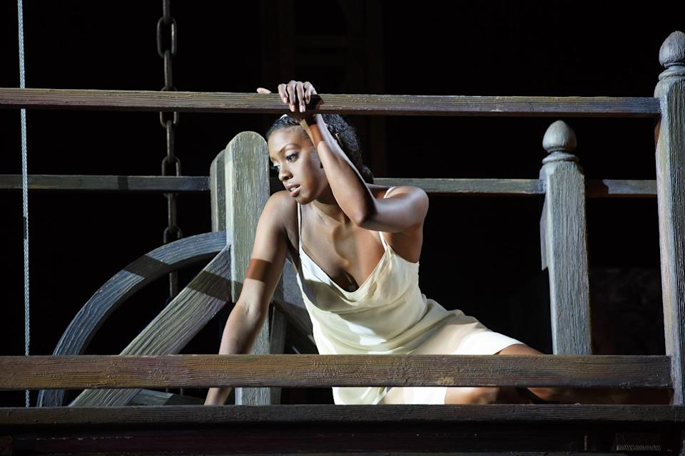 "This theater image released by The Hartman Group shows Condola Rashad during a performance of ""Romeo and Juliet,"" in New York. (AP Photo/The Hartman Group, Carol Rosegg)"