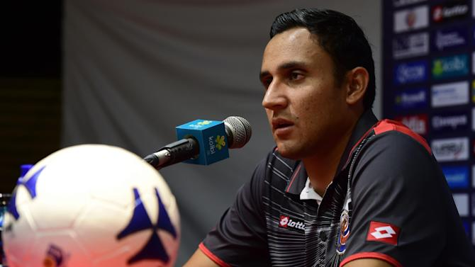 Costa Rica's goalkeeper Keylor Navas speaks during a press conference after a training session at the Vila Belmiro Stadium, in Santos, Sao Paulo State, on July 1, 2014