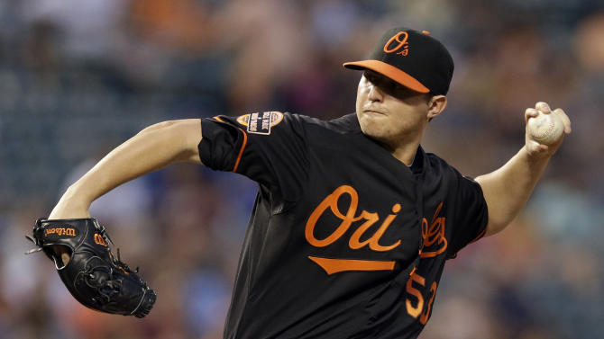 Baltimore Orioles starting pitcher Zach Britton throws to a Toronto Blue Jays batter during the second inning of a baseball game in Baltimore, Friday, Aug. 24, 2012. (AP Photo/Patrick Semansky)