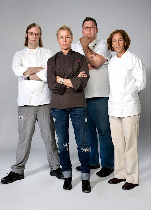 "Chefs Wylie Dufresne, Elizabeth Falkner, Graham Elliot Bowles, and Suzanne Tracht compete in ""Top Chef: Masters.""."