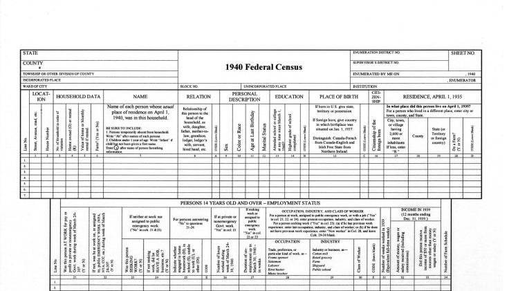 This undated image provided by the National Archives and Records Administration shows a form used in the 1940 Census. The 1940 Census will be released to the public on Monday, April 2, 2012. While a name index will not be immediately available to search, tens of thousands of researchers across the country are expected to go on a massive genealogical hunt through the digitized records for details on 132 million people. (AP Photo/National Archives and Records Administration)
