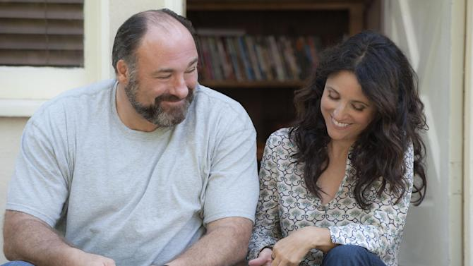 "This publicity photo released by Fox Searchlight shows Julia Louis-Dreyfus, right, and James Gandolfini together in a scene from the film, ""Enough Said."" Louis-Dreyfus said audiences will 'freak out' over the late actor's performance in his final film. The Fox Searchlight film releases in September 2013. (AP Photo/Fox Searchlight, Lacey Terrell)"
