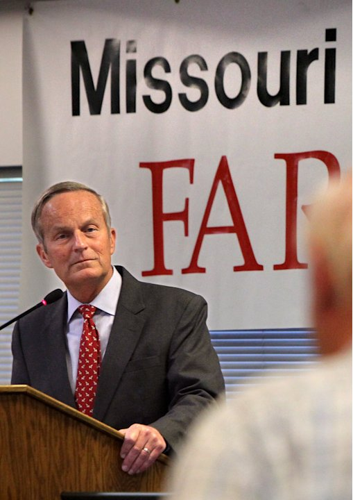 FILE - In this Aug. 10, 2012 file photo, Todd Akin, Republican candidate for U.S. Senator from Missouri, takes a question from the audience after speaking at the Missouri Farm Bureau candidate intervi
