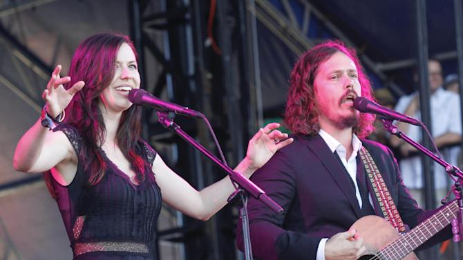 FILE - In this Oct. 14, 2012 file photo, John Paul White and Joy Williams of The Civil Wars perform at the Austin City Limits Music Festival, in Austin, Texas. Williams said Thursday, Dec. 20, 2012,  in a Twitter chat that she's been listening to new music, a sign that the Grammy-winning duo who ended their recent European tour due to 'irreconcilable differences' may release a new album in 2013. (Photo by Jack Plunkett/Invision/AP, File)