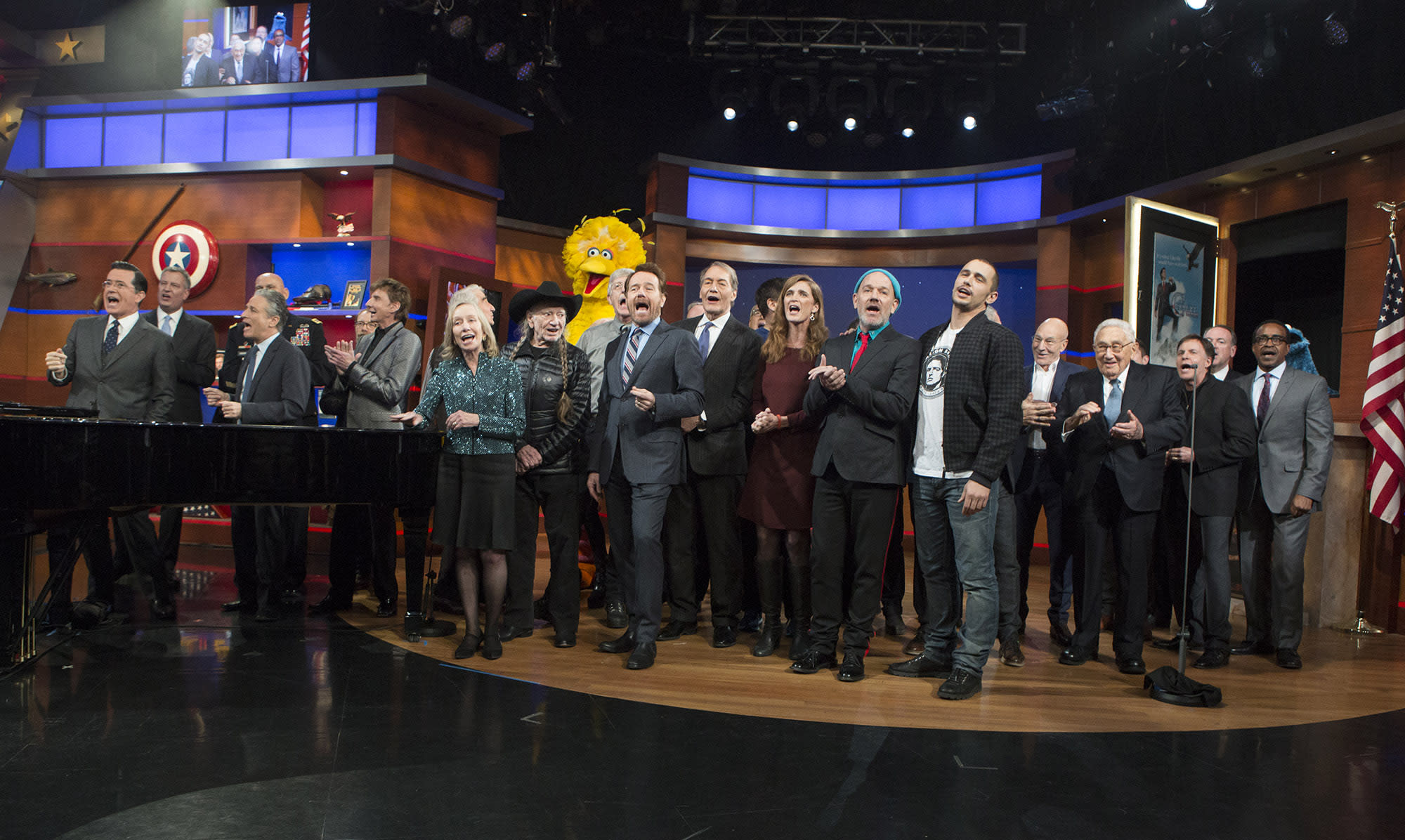 WATCH: Stephen Colbert Immortalized With Star-Studded Finale