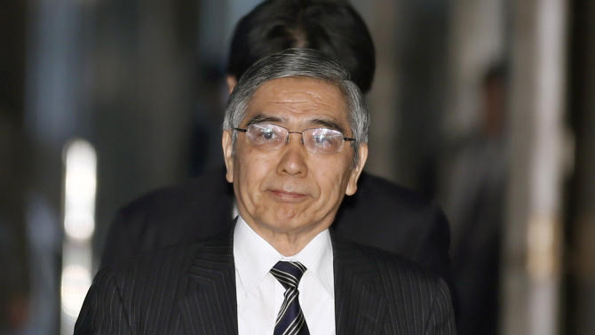 Asian Development Bank President Haruhiko Kuroda, who was recently nominated by Japan's Prime Minister Shinzo Abe to head the country's central bank, arrives at a lower house committee meeting in Tokyo, Monday, March 4, 2013. (AP Photo/Shizuo Kambayashi)