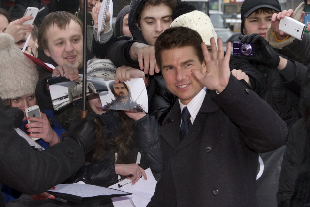 Tom Cruise greets fans at the Moscow premiere of his new movie Oblivion