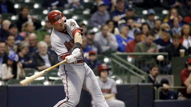 Arizona Diamondbacks' Paul Goldschmidt hits a two-run home run during the first inning of a baseball game against the Milwaukee Brewers, Tuesday, May 6, 2014, in Milwaukee