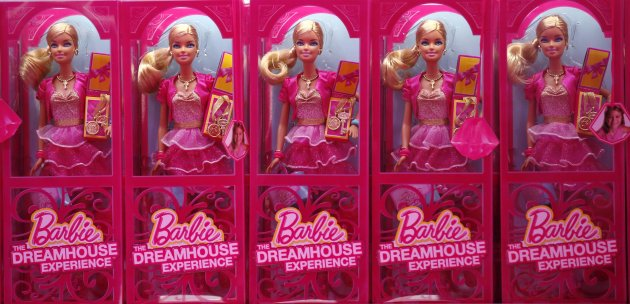 Mattel's Barbie dolls on sale are pictured inside a shop of a life-size