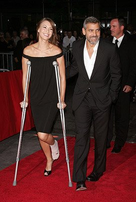 George Clooney and Sarah Larson at the New York City premiere of Warner Bros. Pictures' Michael Clayton