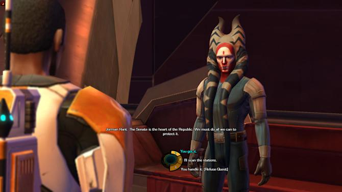"In this screen shot provided by BioWare, a scene from ""Star Wars: the Old Republic,"" is shown. Game makers are crafting more sophisticated story lines and creating characters that evolve based on their experiences within a game. It's an attempt to interest new customers and reverse a decline in video game sales as the maturing business fights for people's attention in the face of new devices such as the iPad. (AP Photo/Electronic Arts Inc.)"