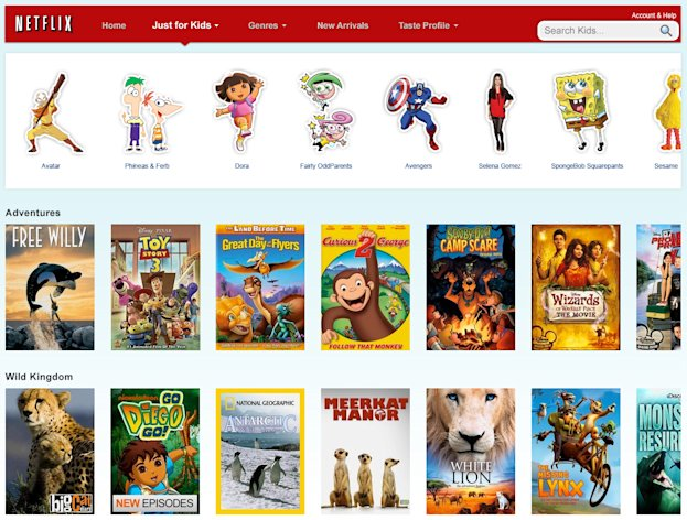 "In this screen shot provided by Netflix Inc., the home page for ""Just For Kids,"" is displayed. Netflix Inc. is giving kids and their parents a new reason to embrace its Internet video subscription service as it raises prices to the dismay of many customers. (AP Photo/Netflix Inc.)"