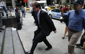 Argentina's Finance Secretary Pablo Lopez arrives for debt negotiation talks with court-appointed mediator Daniel Pollack in New York