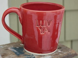 luv ya ceramic handmade mug valentine red