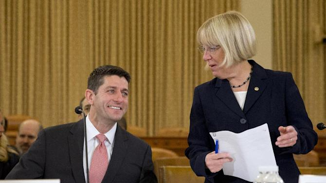 FILE - In this Nov. 13, 2013 file photo, House Budget Committee Chairman Rep. Paul Ryan, R-Wis., left, and Senate Budget Committee Chair Sen. Patty Murray, D-Wash., arrive at a Congressional Budget Conference on Capitol Hill in Washington. In the aftermath of last month's partial government shutdown, House and Senate negotiators are trying to reach a budget agreement for next year and beyond. One goal is to soften automatic spending cuts that started to take effect this year known as sequestration. Those cuts are scheduled to get deeper in the coming year. (AP Photo/Jacquelyn Martin, File)