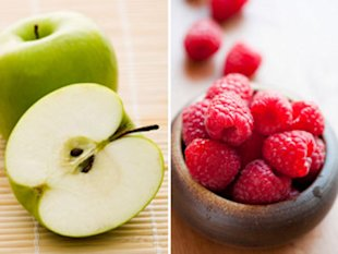 Apples and raspberries.