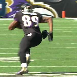 Baltimore Ravens quarterback Joe Flacco 17-yard pass to wide receiver Steve Smith