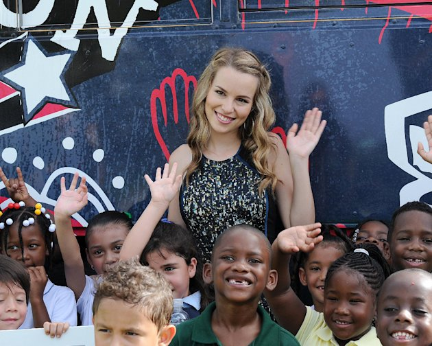 Bridgit Mendler appears  at the Phillis Wheatley Elementary School as part of the Give With Target campaign.Target and Bridgit kicked off the new school year by presenting the school with a $25,000 ch