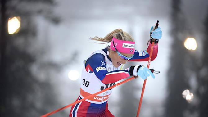 Therese Johaug of Norway skis to win the Ladies' Individual Free Cross Country 5km competition at the FIS World Cup Ruka Nordic 2015 event in Kuusamo