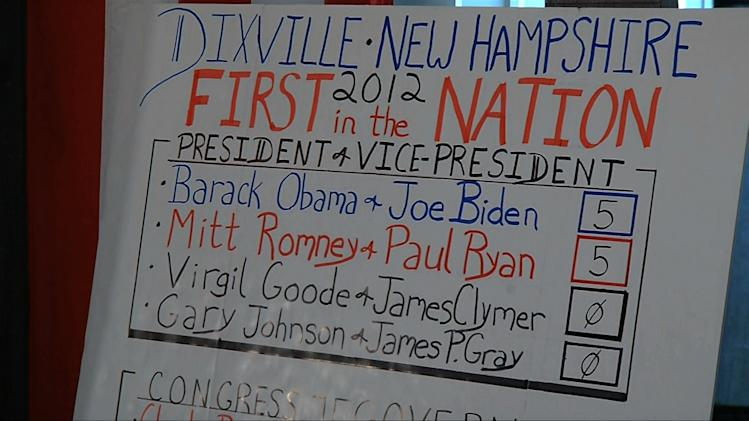 In this still frame made from video, the votes sheet shows the results from Dixville Notch, N.H., Tuesday, Nov. 6, 2012 after residents cast the first Election Day votes in the nation. After 43 seconds of voting, President Barack Obama and Republican Mitt Romney each had 5 votes in Dixville Notch. (AP Photo/APTN)