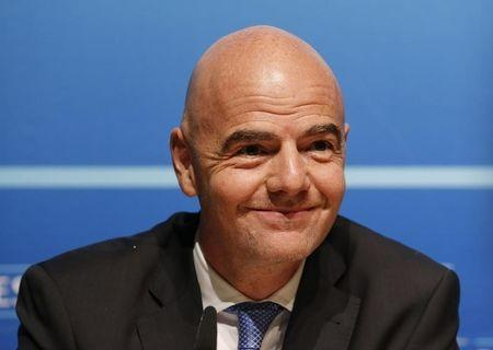 UEFA General Secretary Infantino attends a news conference after an Executive Committee meeting at the UEFA headquarters in Nyon