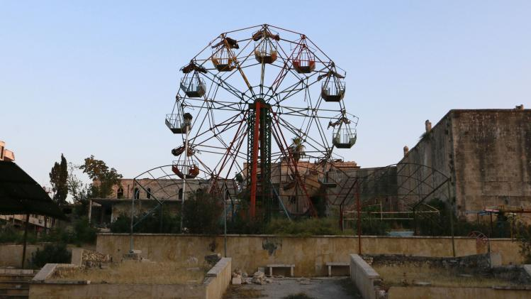 An abandoned amusement park is pictured on the eve of Eid al-Fitr in Idlib countryside