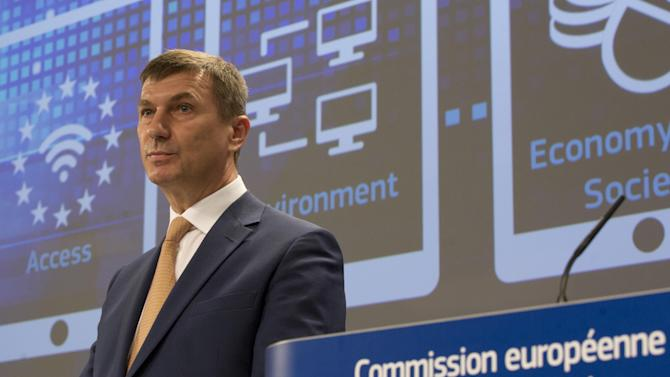 European Commissioner for Digital Single Market Andrus Ansip speaks during a media conference at EU headquarters in Brussels on Wednesday, May 6, 2015. The EU on Wednesday announced a strategy push to make the continent more relevant on the digital marketplace which is currently dominated by U.S. companies. (AP Photo/Virginia Mayo)