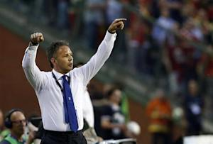 Serbia's coach Mihajlovic reacts during their 2014 World Cup qualifying soccer match against Belgium at the King Baudouin stadium in Brussels