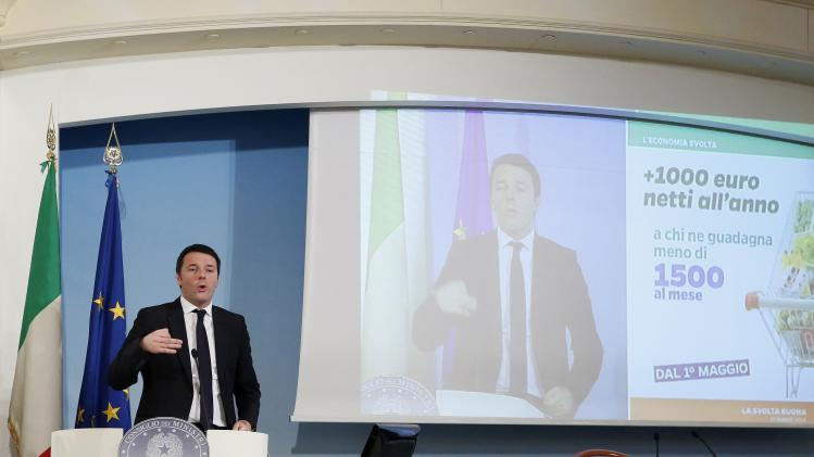 Italy's Prime Minister Renzi speaks as he leads a news conference at Chigi palace in Rome