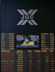 An electronic board displaying movements in major indices is seen at Johannesburg stock exchange in Sandton September 23, 2008. REUTERS/Siphiwe Sibeko