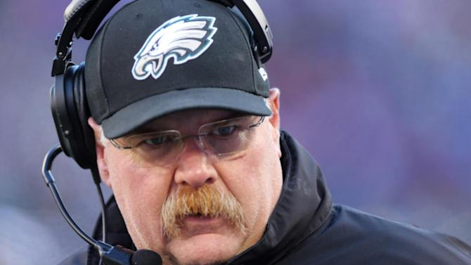 FILE - Philadelphia Eagles head coach Andy Reid during the first half of an NFL football game against the New York Giants Sunday, Dec. 30, 2012 in East Rutherford, N.J. Reid has been fired after 14 seasons coaching the Philadelphia Eagles. The Eagles made the announcement Monday, Dec. 31, 2012. (AP Photo/Peter Morgan, File)