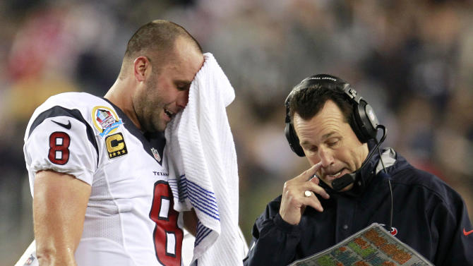 Houston Texans quarterback Matt Schaub (8) and head coach Gary Kubiak talk during the second quarter of an NFL football game against the New England Patriots in Foxborough, Mass., Monday, Dec. 10, 2012. (AP Photo/Steven Senne)