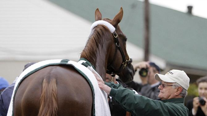 Trainer Art Sherman looks at Kentucky Derby entrant California Chrome after a morning workout at Churchill Downs Thursday, May 1, 2014, in Louisville, Ky