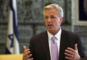 U.S. House Majority Whip Kevin McCarthy (R-CA) speaks during a meeting with Israel's President Shimon Peres in Jerusalem