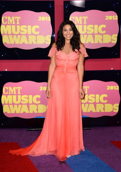 Singer Jordin Sparks arrives at the 2012 CMT Music awards wearing Kevan Hall at the Bridgestone Arena on June 6, 2012 in Nashville, Tennessee. (Photo by Jason Merritt/Getty Images)