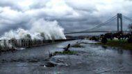 A striking image of Verrazano Bridge in Brooklyn as Hurricane Sandy approaches on Oct. 29, 2012.