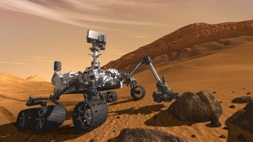 This artist concept shows NASA's Mars Science Laboratory Curiosity rover