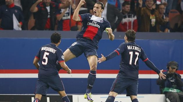 Zlatan Ibrahimovic celebrates scoring for Paris Saint-Germain (Reuters)