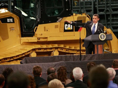 barack obama caterpillar factory