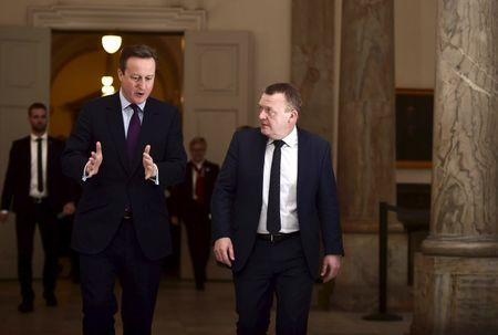 Danish Prime Minister Lokke Rasmussen meets with his British counterpart Cameron at the Prime Minister's Office in Copenhagen