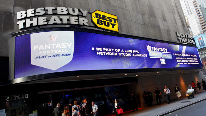 COMMERCIAL IMAGE - In this photograph taken by AP Images for NFL, a general view of atmosphere is seen during the DirecTV NFL Fantasy Week on Wednesday, Aug. 22, 2012 at the Best Buy theatre in Times Square in New York. (Brian Ach/AP Images for NFL)
