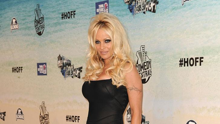 "Pamela Anderson arrives at the ""Comedy Central Roast Of David Hasselhoff"" held at Sony Pictures Studios on August 1, 2010 in Culver City, California."