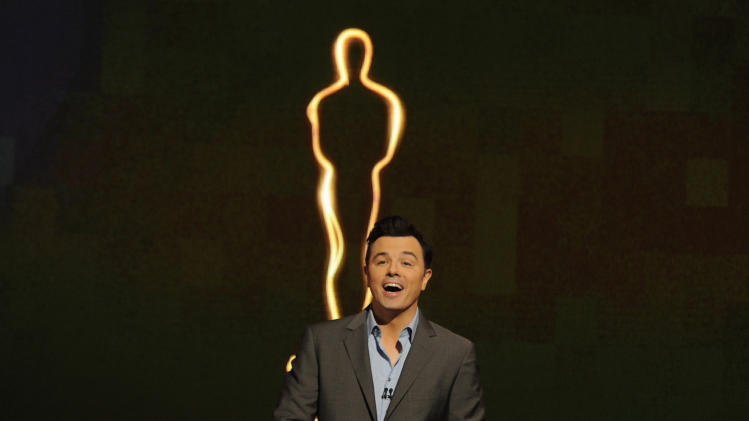 2013 Oscar host Seth MacFarlane presents the Academy nominations for the 85th Academy Awards on Thursday, Jan. 10, 2013 in Beverly Hills, Calif. The 85th Annual Academy Awards will take place on Sunday, Feb. 24 at the Dolby Theatre in Los Angeles. (Photo by Chris Pizzello/Invision/AP Photo)