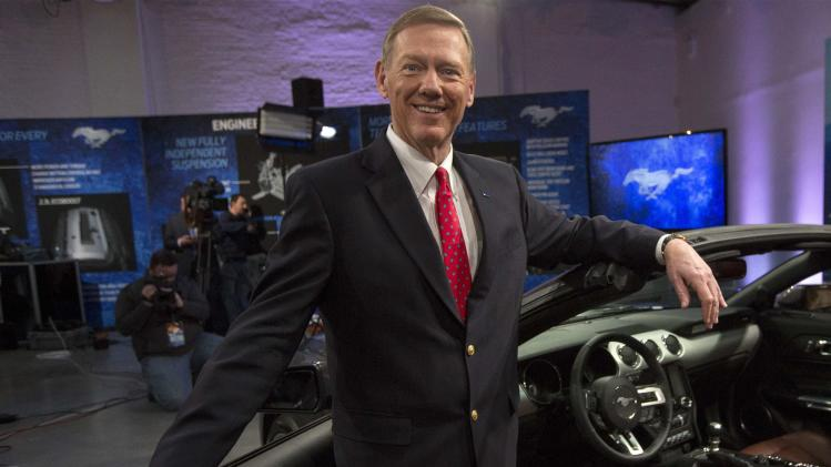 Ford Motor Co. CEO Alan Mulally unveils its all new 2015 Ford Mustang GT at an event in New York