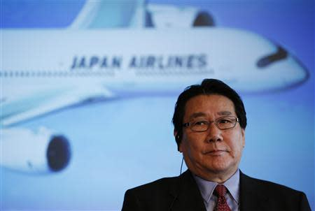 Japan Airlines President Ueki attends a joint news conference in Tokyo