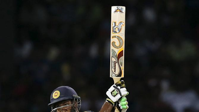 Sri Lanka's Kapugedera hits a six during their second Twenty20 cricket match against Pakistan in Colombo