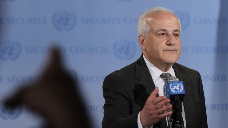 Palestinian Ambassador to the United Nations Riyad Mansour speaks to the media outside the Security Council during the 66th session of the General Assembly at United Nations headquarters Monday, Sept. 26, 2011.  (AP Photo/Seth Wenig)