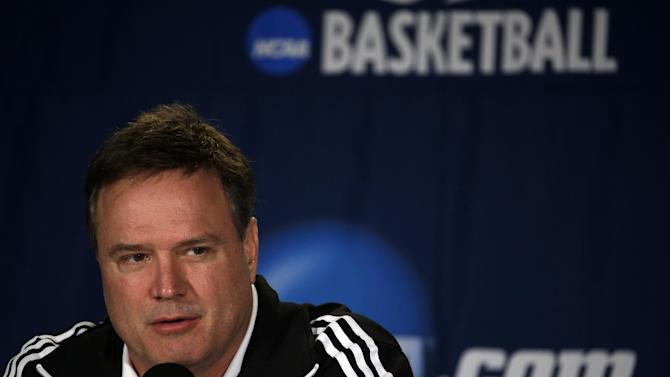 Kansas head coach Bill Self speaks during a news conference for the third-round game of the NCAA college basketball tournament Saturday, March 22, 2014, in St. Louis. Kansas is scheduled to play Stanford on Sunday